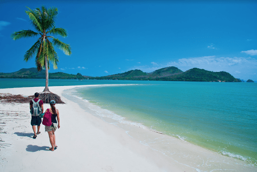 Two people on a beach in Phuket, Thailand