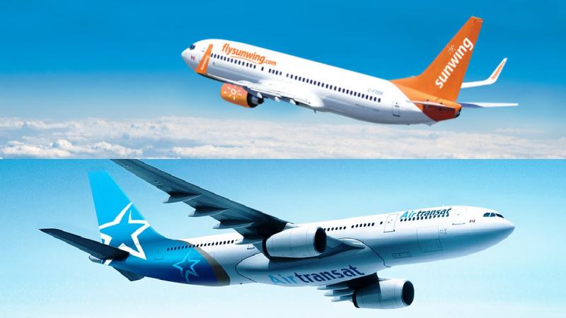 Sunwing and Transat planes