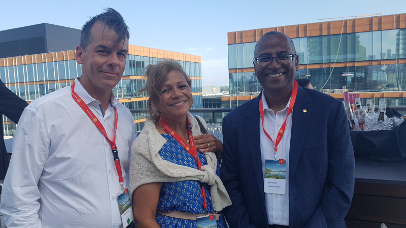 Collette's Brett Walker with Stéphanie Bishop of the Globus family of brands and Lufthansa Group's Peter Daniel