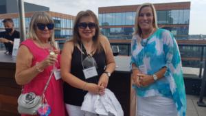 Enjoying the hospitality: New Wave Travel's Isobel Mickiewica; Sheila Aune of TPI and Tamara Bokma of TAND.