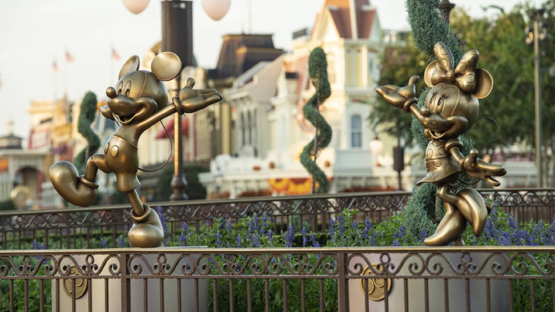 Mickey and Minnie Mouse anniversary statues